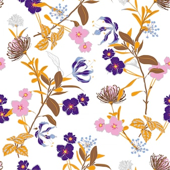 Gentle blooming garden floral pattern