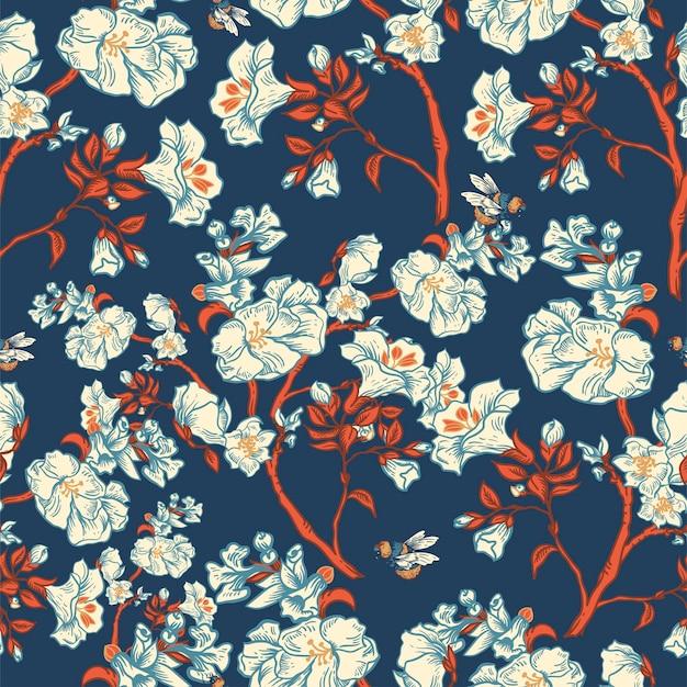 優しい青のベクトルヴィンテージ花のシームレスなパターン。植物の花。リージェンシーテクスチャ、バロック様式の手描きの背景