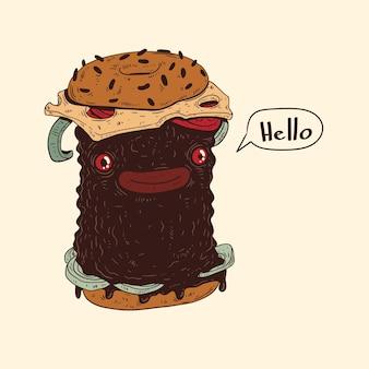 コミュニケーションを探している優しいハンバーガー