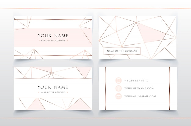 Gentle elegant business card template. pink & gold geometric pattern