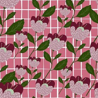 Нежные геометрические цветы бесшовные модели. цветочные обои.