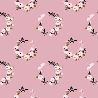Gentle pink flower wreath seamless pattern with butterfly and dragonfly