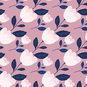 優しいピンクの花のシームレスなパターン。美しいヴィンテージの植物の質感。花の壁紙。