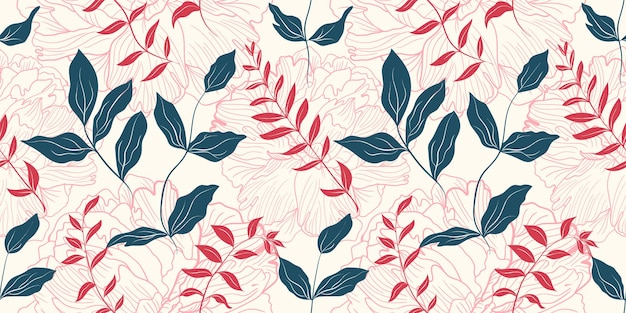 Gentle pink peony flowers and green leaves seamless pattern