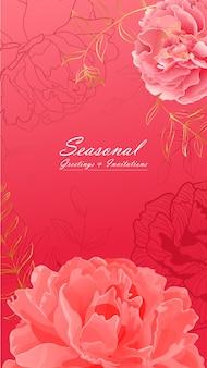 優しいピンクの牡丹の花の肖像画のバナー