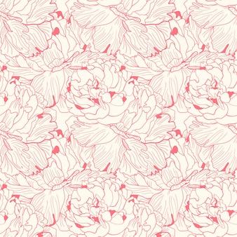 優しいピンクの2色牡丹シームレスパターン
