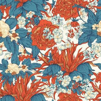 優しいベクトルヴィンテージ花のシームレスなパターン。植物の花。リージェンシーテクスチャ、バロック様式の手描きの背景