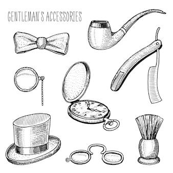 紳士のアクセサリー。ヒップスターやビジネスマン、ビクトリア朝時代。古いヴィンテージのスケッチで描かれた刻まれた手。