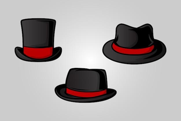 Джентльмен черная шляпа вектор