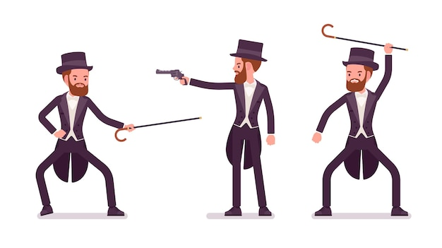 Gentleman in black tuxedo practice bartitsu self defense