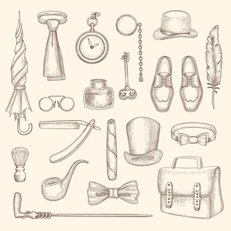 Gentleman clothes and accessories silhouettes set