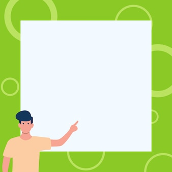 Gentleman drawing standing pointing finger in blank whiteboard man design stands points hand