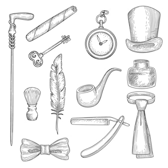 Gentleman elements set in black and white Premium Vector