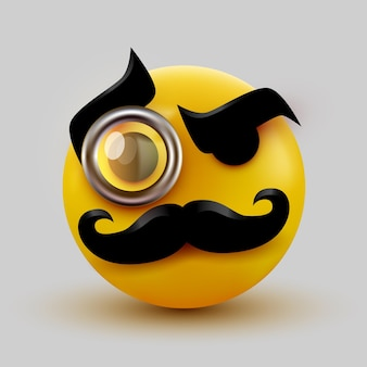 Gentleman emoticon. sir icon with mustache and monocle.