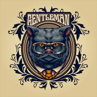 Gentleman grey cat vintage illustration