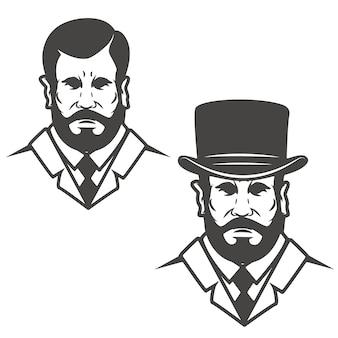 ヴィンテージの帽子を持つ紳士の頭。ロゴ、ラベル、エンブレムの要素。図。