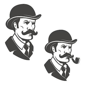 喫煙パイプ付きビンテージハットを持つ紳士の頭。ロゴ、ラベル、エンブレムの要素。図。