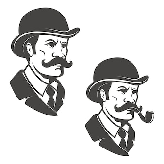 Gentleman head with vintage hat with smoking pipe.  elements for logo, label, emblem.  illustration.