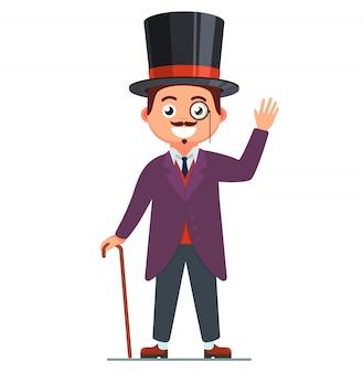 Джентльмен в костюме и улыбке. человек 19 века. верхняя хижина на голове. ретро персонаж