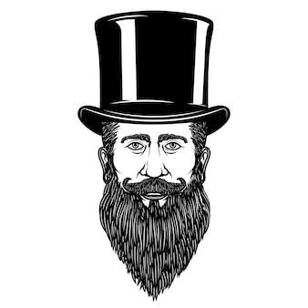 ヴィンテージの帽子の紳士。ポスター、カード、エンブレム、記号の要素。図