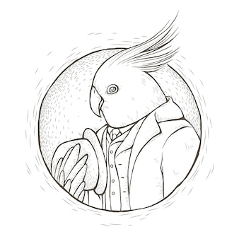 Gentleman parrot coloring page in exquisite line style