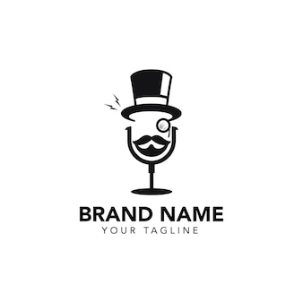 Шаблон логотипа подкаста джентльмена