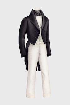 Gentleman's tuxedo vector design element, remixed from artworks by henry de wolfe