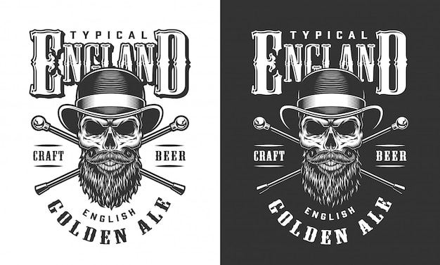 Gentleman skull in fedora hat label