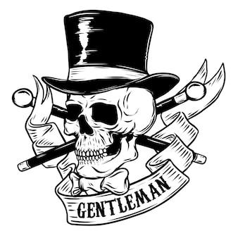 Gentleman. skull in vintage hat.  element for poster, t-shirt.  illustration