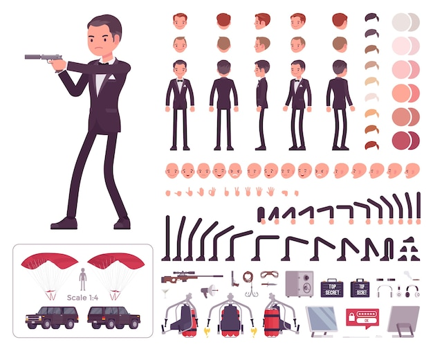 Gentleman spy of intelligence service character creation set