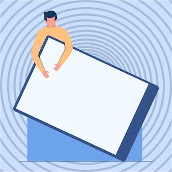 巨大な空白のクリップボードを保持している紳士立っている図面男のデザインは立って、大きな空を保持します