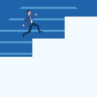 Gentleman in suit drawing running upwards on a large stair steps man in uniform design climbing