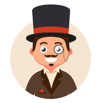 Gentleman in top hat and glasses in a bubble illustration