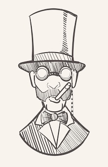 A gentleman in a top hat with a cigar and a monocle