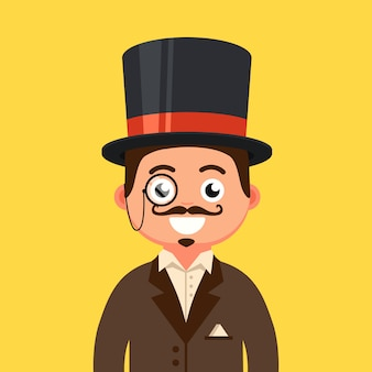 A gentleman in a top hat with a mustache and in a monocle. 19th century man. flat character   illustration.