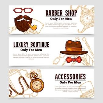 Gentleman vintage doodle bannners set