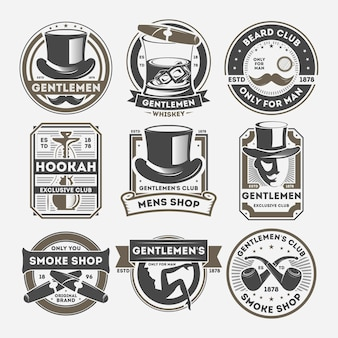 Gentleman vintage isolated label set
