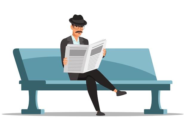 안경, 양복, 모자를 쓴 신사는 공원 벤치에 앉아 신문을 읽고 있습니다. 일간지 타블로이드 인쇄물로 뉴스를 추적하는 사업가입니다. 흰색 배경에 고립 된 인간의 문자