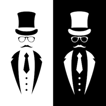 Gentleman wearing suit retro hat bow and glasses