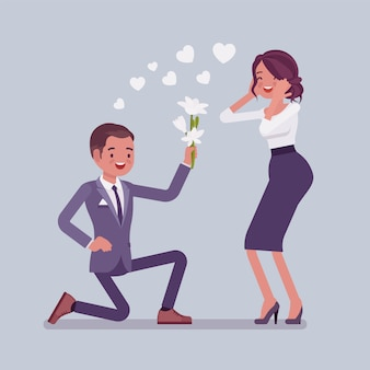 Gentleman with flowers. young man makes on knee an offer of marriage to pretty woman, declaration of love, express strong feeling of affection in elegant way.   style cartoon illustration