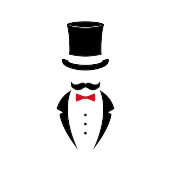 Gentleman with mustache in tuxedo and vintage hat