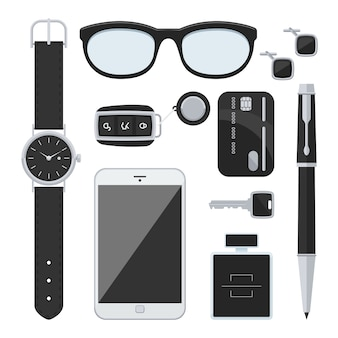 Gentlemanly set: car keys, sunglasses, watch, credit card, mobile, pen, perfume and cufflinks.