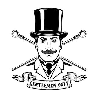紳士クラブのエンブレムテンプレート。ロゴ、ラベル、エンブレム、記号の要素。図