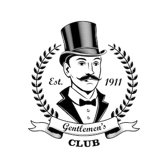 Gentlemen club emblem vector illustration. man in smoking and top hat, laurel wreath frame. bar, pub or shop concept for labels or badges templates