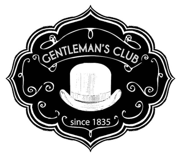 Gentlemen club vintage retro label with chalk