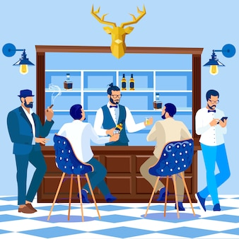 Gentlemen or hipsters stand at bar counter desk