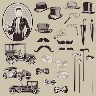 紳士のアクセサリーと古い車
