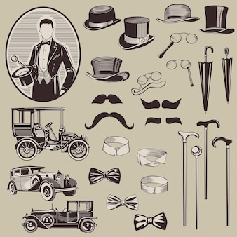 Gentlemen's accessories and old cars