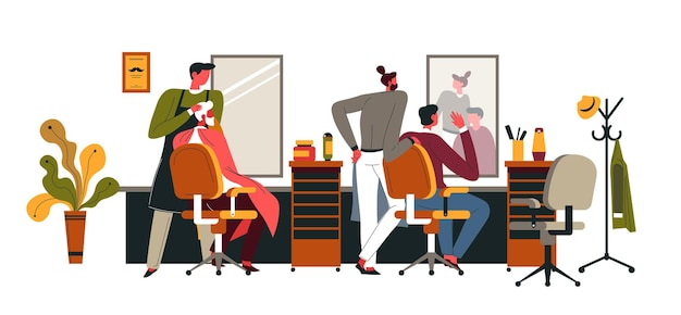 Gentlemen sitting in comfortable chairs relaxing at barbers shop. professional hairstyling. specialists making haircuts and trimming mustaches for clients. interior of salon. vector in flat style