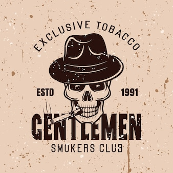 Джентльмены клуб курильщиков вектор винтаж эмблема на фоне с текстурами гранж